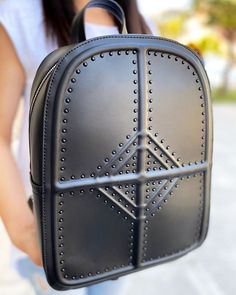 Backpack in black with studs, embossed texture and adjustable/detachable straps. Black Backpack, Pu Leather, Fashion Backpack, Dust Bag, Studs, Spring Summer, Texture, Bags, Surface Finish
