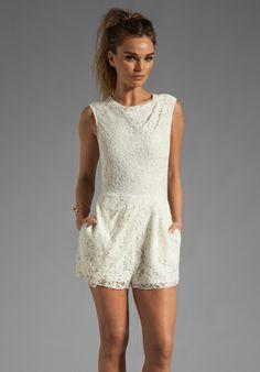 DOLCE VITA Jaida Raised Lace Romper in Cream at Revolve Clothing