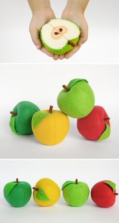 Play set Apples Waldorf toys fruit Baby toy Birthday gifts Stuffed toy Play food Kids toys Baby gift Soft toy Organic toy Toddler gift - All For Garden Felt Diy, Felt Crafts, Toddler Gifts, Baby Gifts, Felt Games, Food Pillows, Harvest Kitchen, Felt Fruit, Felt Play Food