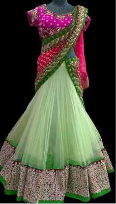 Lime Green and Pink Gorgeous Lehenga #lehenga #limegreen #indianbride #bride #bridallehenga