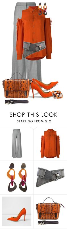 """Orange 🍊/work wear"" by ganing ❤ liked on Polyvore featuring Alexander McQueen, A.F. Vandevorst, Toolally, River Island, pants, moods, WearIt and polyvoreatitsbest"