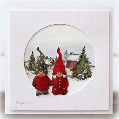 A Christmas card with the sweet Winter Farm stamp from Serendipity Stamps in the background.     Winter Farm     The couple is  cut out fro...