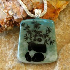 Square Fused Glass Pendant  Stone Look Glass Pendant by GlassCat, $28.00