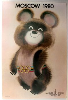 Misha - mascot of the 1980 The bear - called Misha - submitted by artist V. Chizhikov from Moscow, was selected as the mascot of the Moscow Games in Olympic Mascots, Olympic Games, Soviet Art, Good Old Times, Vintage Travel Posters, Old Toys, Retro, Olympics, Childhood
