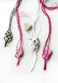 Macrame Rock Necklaces :: A Fun Summer Craft for Kids