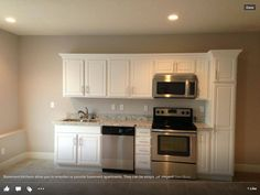 Kitchenette - flip sink and dishwasher, add fridge to make it work (white appliances in narrower widths)...clever pantry at end of right side *** FAVORITE *** can be done under 13' width with 18 cu ft fridge and other standard size appliances.