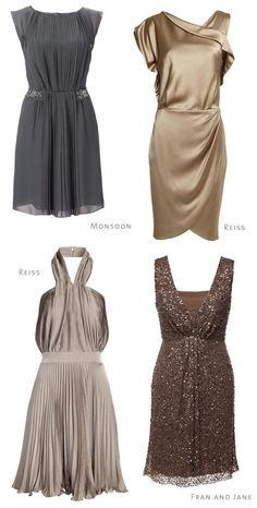 Metallic Bridesmaids Read more on http://onefabday.com/mix-match-bridesmaids-dresses-ideas/
