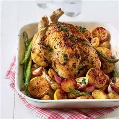 One-tray roast chicken with white wine, zesty potatoes and asparagus recipe. Nothing beats a good roast chicken such as this one. Why not use the bones for stock and the leftovers (if there are any) for sandwiches.