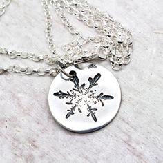 Little Snowflake Necklace,Oxidized Fine Silver, Ecofriendly Fine Silver, Winter Holiday Pendant, PMC, Pure Silver, Silver Snowflake - FLURRY