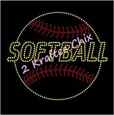 Softball Rhinestone Shirt Softball Bling Shirt by 2KrafteeChix