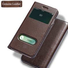 Luxury Genuine Leather Case Flip Cover Case For iPhone 7 Window View Phone With Magnetic Buckle Coque Fundas For iPhone 7 Plus