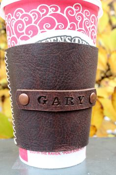 Handmade leather coffee sleeve personalized | Etsy