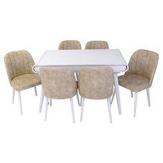 Set masa living Vegas Alba cu scaune crem Vegas, Dining Table, Furniture, Home Decor, Decoration Home, Room Decor, Dinner Table, Home Furnishings, Dining Room Table
