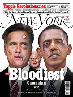 "Bloodiest Campaign Ever - For those that saw the Bloomberg cover as a personal attack on Romney: Political imagery like this is not Ad Hominem. Romney's beat up face is about the Republican primary process (and he has taken a lot of ""punches""). Witness this New  York Cover. All the candidates need stitches because it will indeed be a vicious fight for the 2012 presidency. Our political culture has disintegrated into ad hominem attacks and blind loyalties. But it doesn't have to be that way."