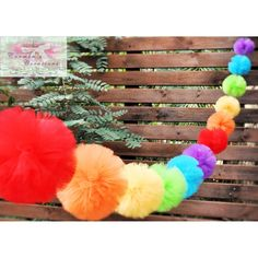 #ladybird2turtle #pinadaysep #party $30.00 nothing says party like a Rainbow Tulle Pom Pom Garland on Handmade Australia