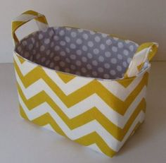 Items similar to Storage and Organization - Desk Organizer Fabric Container Basket Bin - Corn Yellow and White Slub Chevron on Etsy Craft Room Storage, Fabric Storage, Storage Organization, Fabric Organizer, Craft Organisation, Pegboard Storage, Organizing Ideas, Modern Baskets, Contemporary Baskets