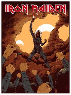 Iron Maiden- To Tame a Land. Screenprint poster design by Arik Roper.