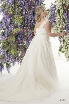 Corded lace appliqué and tulle A line skirt with crystal and pearl beaded belt Plus Size Wedding Dress