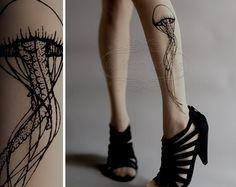sexy Jellyfish TATTOO gorgeous thighhigh socks GREY by tattoosocks, $18.00