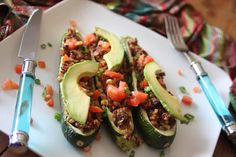 Vegan Treats: Baked Southwest Stuffed Zucchini
