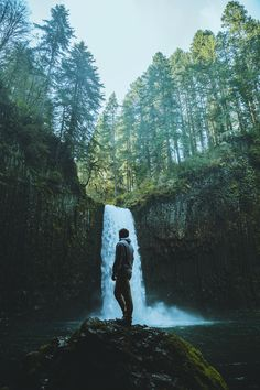 In awe, by Nick Verbelchuk... #park #landscape #water #nature #river #travel #rock #tree #summer #beautiful #wood #waterfall