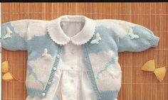 Patrones para tejer ropa de bebés Baby Cardigan, Cardigan Bebe, Baby Pullover, Baby Knitting Patterns, Arm Knitting, Knitting For Kids, Pull Bebe, Bebe Baby, Baby Sweaters