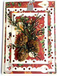 Amazing card that combines Susan's Garden Club - Garden Notes - Whitepine Boughs & Pinecone (1091) with Els van de Burgt - Fitted Frames 1 Lace Rectangles (1061). Use Susan's Garden Club Tool Set (808), Molding Pad (810), and Leaf Pad (811) to create the pinecone and boughs. Find the supplies here: http://www.elizabethcraftdesigns.com/collections/susans-garden