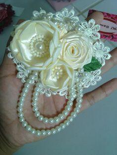 Burned Satin Flowers Homemade Jewelry Handmade by SherineHandmade
