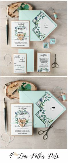 Watercolor pastel green wedding invitation #green #mint #wedding #weddingideas #calligraphy #watercolor