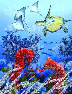 """NEW, Digital Print ON CANVAS from Original Oil Painting by Pascal Garnier  TITLE: Red Seahorses """" I could not resist reproducing these small treasures."""