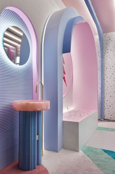 patricia bustos references video games to create retro-futuristic dressing room Futuristic Interior, Retro Futuristic, Interior Architecture, Interior And Exterior, Futurism Architecture, Futurism Art, Memphis Design, Design Case, Design Design