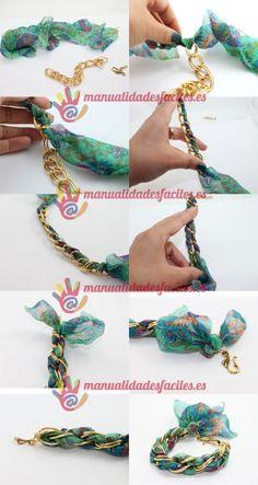DIY Pulsera de seda con cadena