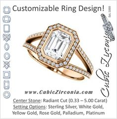 Cubic Zirconia Engagement Ring- The Josefina (Customizable Halo-Style Radiant Cut with Wide Split-Band Pavé)