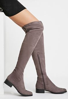 Over-the-Knee Faux Suede Boots - Womens shoes and boots | shop online | Forever 21 - 2000158212 - Forever 21 EU English