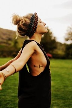 Two Words Rib Quote Tattoos for Girls - Hot Rib Quote Tattoos for Girls