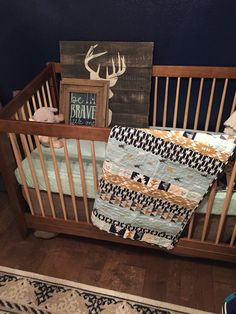 Fall Baby Quilt Handmade Crib Boy Ready To Ship Shower Woodland Nursery Bedding Navy Deer Arrows Rustic Gende
