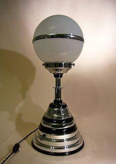 MACHINE AGE ART DECO CHROME BLACK BAKELITE LAMP, WHITE GLASS SATURN THEMED SHADE