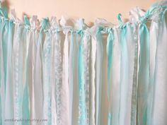 Fabric Backdrop Rag Streamer Garland with Mint by AnnKayDesign, €49.00