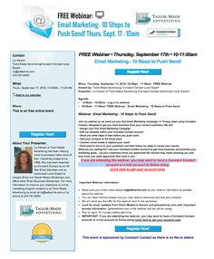 Join me on 9/17 for a FREE Webinar: Email Marketing - 10 Steps to Push Send!