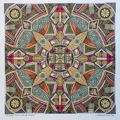 'Shedding leafs to rest the branches' Artist Lize Beekman Cape Town South African Artists, Kaleidoscopes, Color Pencil Art, Coloured Pencils, Mosaic Patterns, Spirals, Mandala Art, Zentangles, Sacred Geometry