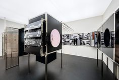 Installation view of Moholy-Nagy: Future Present, Solomon R. Guggenheim Museum, New York, May 27–September 7, 2016.  Guggenheim's contemporary fabrication of 'Room of the Present' a space conceived by the artist in 1930,  that he couldn't see during his lifetime, includes a replica of Light Prop for an Electric Stage (1929–30)