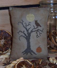 Old Haunts Cross-Stitch Pillow/PinKeep