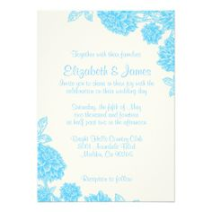 Luxury Blue Floral Wedding Invitations