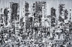 """IN THE CITY"" Contemporary black, white and grey cityscape painting on chunky canvas #skyscrapers #busycity #citylife #citypainting #urbanlife http://www.hannahvanbergen.co.uk/cityscapes-2/421289_in-the-city.html"