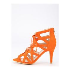 Faux Suede Caged Lace-Up Heeled Sandals Orange (£26) ❤ liked on Polyvore featuring shoes, sandals, lace-up sandals, faux suede shoes, lace up shoes, laced up shoes and laced sandals