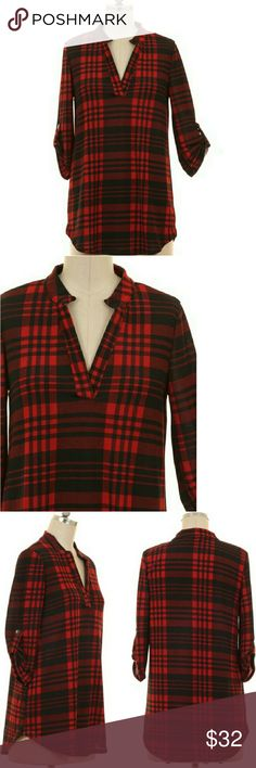 Burgundy Plaid Roll Sleeve Blouse This pretty blouse is perfect for the office or social events! Wear with black dress pants or jeans.   94% Polyester, 6% Spandex.  Made in the USA.  Fits true: Small 2/4, Medium 6/8, Large 10/12 Tops Tunics