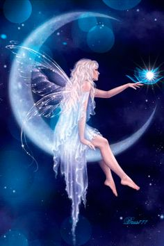 QUE DIOS LOS BENDIGA..COMUNIDAD...Y FELIZ FIN DE SEMANA....BENDICIONES... Moon Fairy, Fairy Paintings, Cancer Moon, Beautiful Moon, Dragon Art, Moon Child, Fairy Art, Blue Moon, Cool Pictures