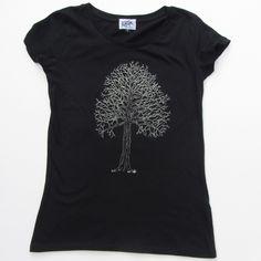 Tree on women's black t-shirt