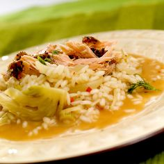 risotto med varmrøkt laks og fennikel
