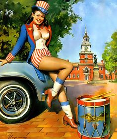 Gil Elvgren - 1970's NAPA Advertising. Another of Elvgren's patriotic illustrations which is rare but unique in it's style. Elvgren produced over 20 advertisements for NAPA between 1966 and 1977